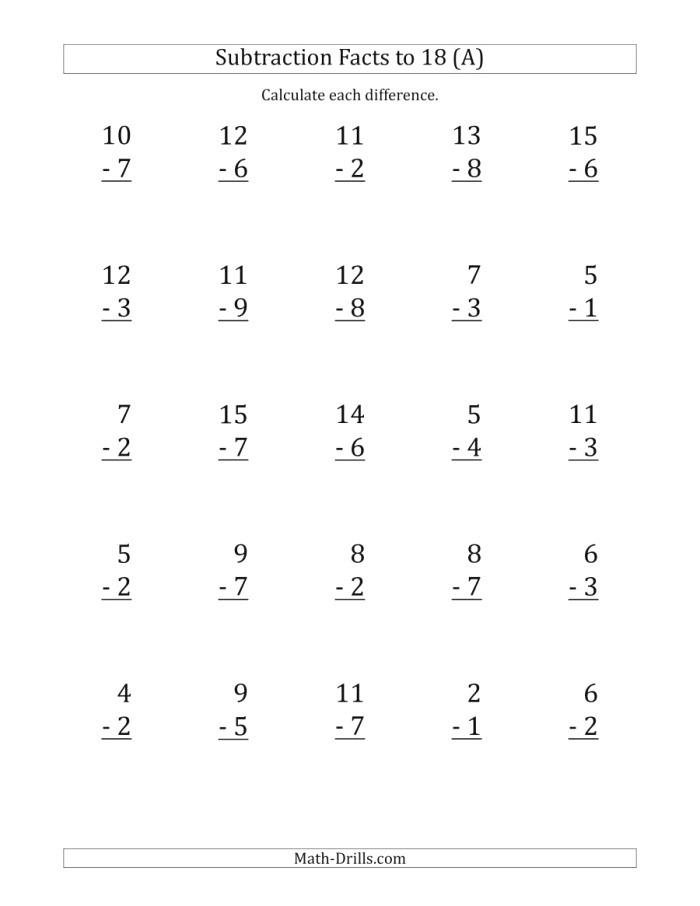 25 Vertical Subtraction Facts with Minuends From 2 to 18 A