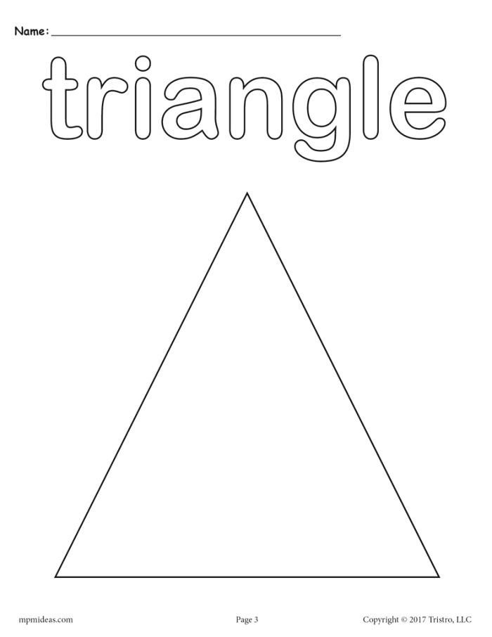 8 Triangle Worksheets Tracing Coloring Pages Cutting