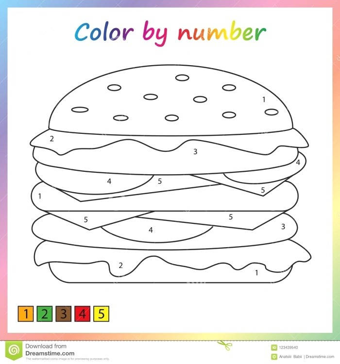 9 Yummy Food Color by Number Worksheets