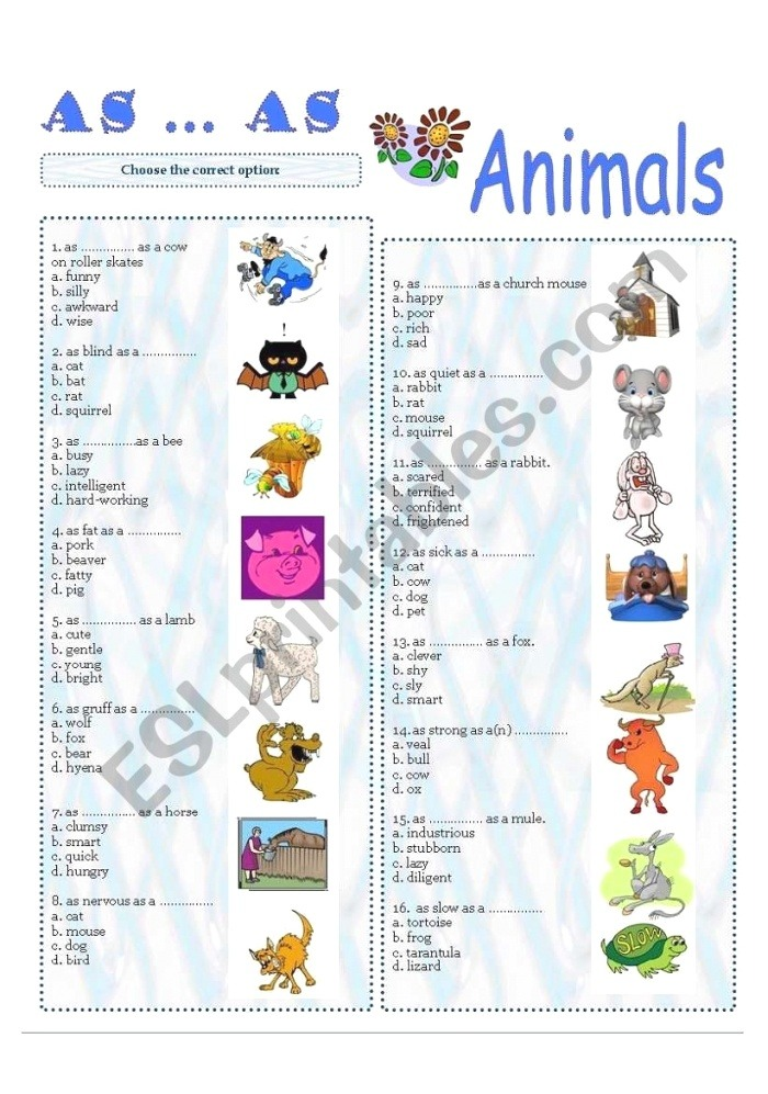 as as Parison Esl Worksheet by Ankhy