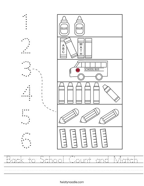 Back to School Count and Match Worksheet Twisty Noodle