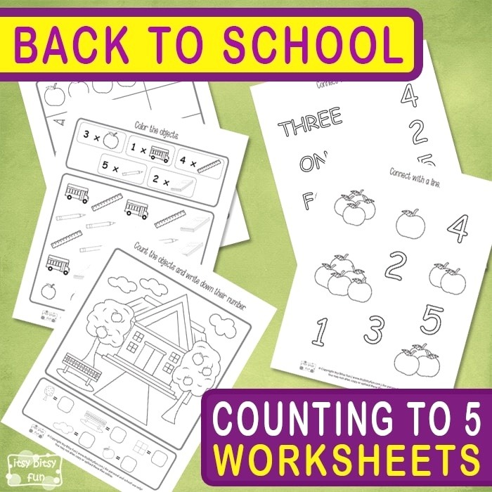 Back to School Counting to 5 Worksheets Itsy Bitsy Fun
