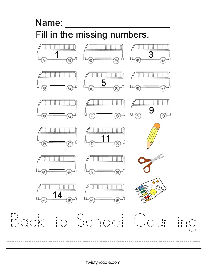 Back to School Counting Worksheet Twisty Noodle