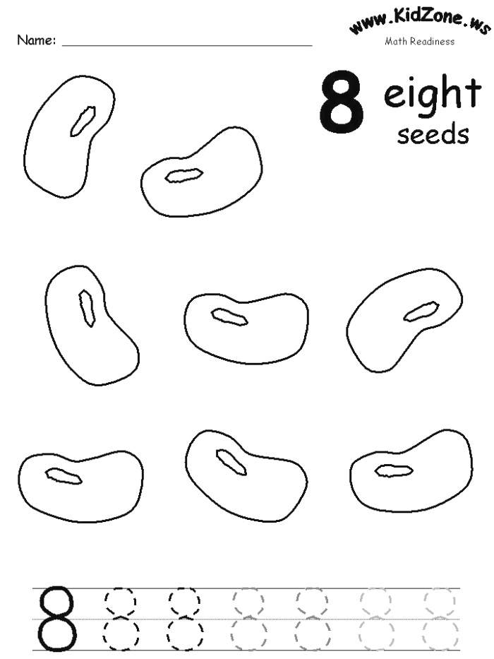 Color and Trace the Number 8 Seeds