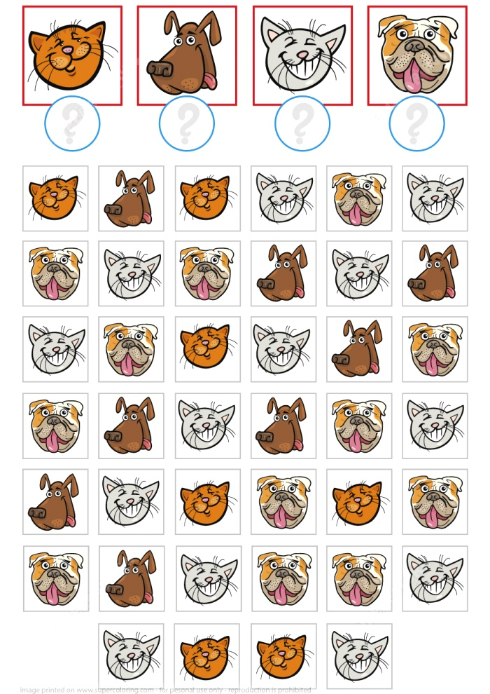Count Cats and Dogs Math Puzzle Worksheet