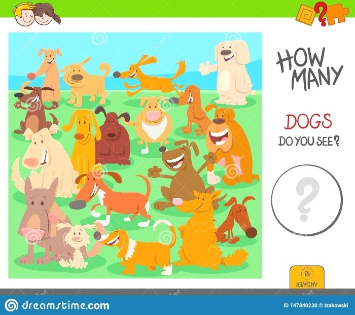 Count Dogs Activity Worksheet Game Stock Vector