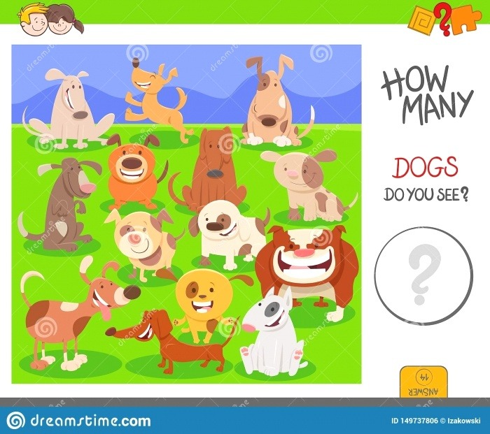 Counting Dogs Activity Worksheet Task Stock Vector