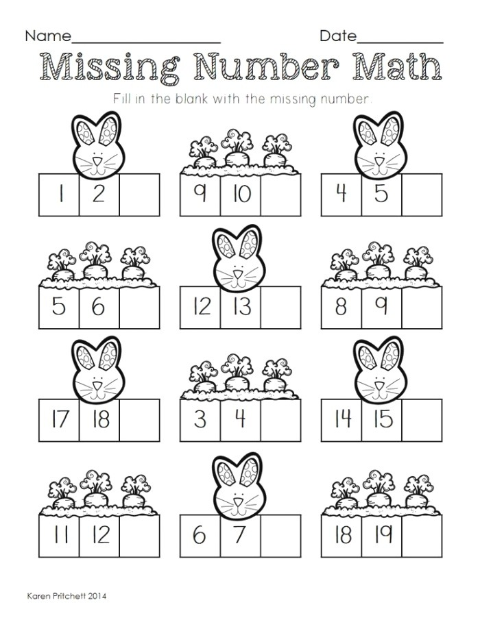 Easter Math Graphing Missing Number Counting On & Ten