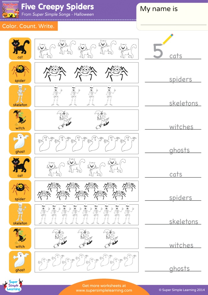 Five Creepy Spiders Worksheet Color Count & Write