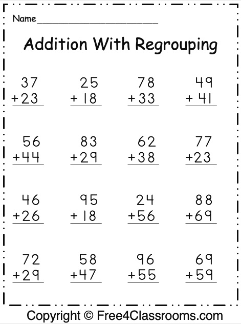 Free Addition Practice Worksheets 2 Digit with