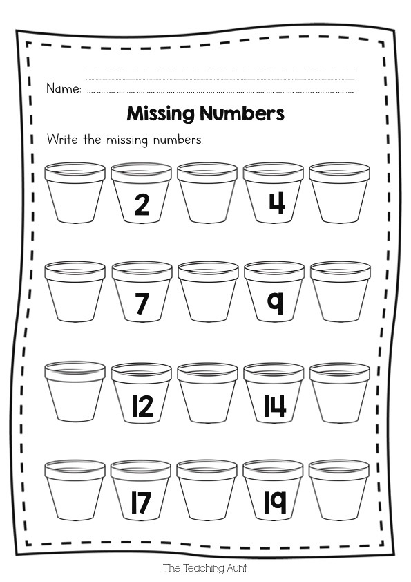 Free Missing Numbers Worksheets the Teaching Aunt