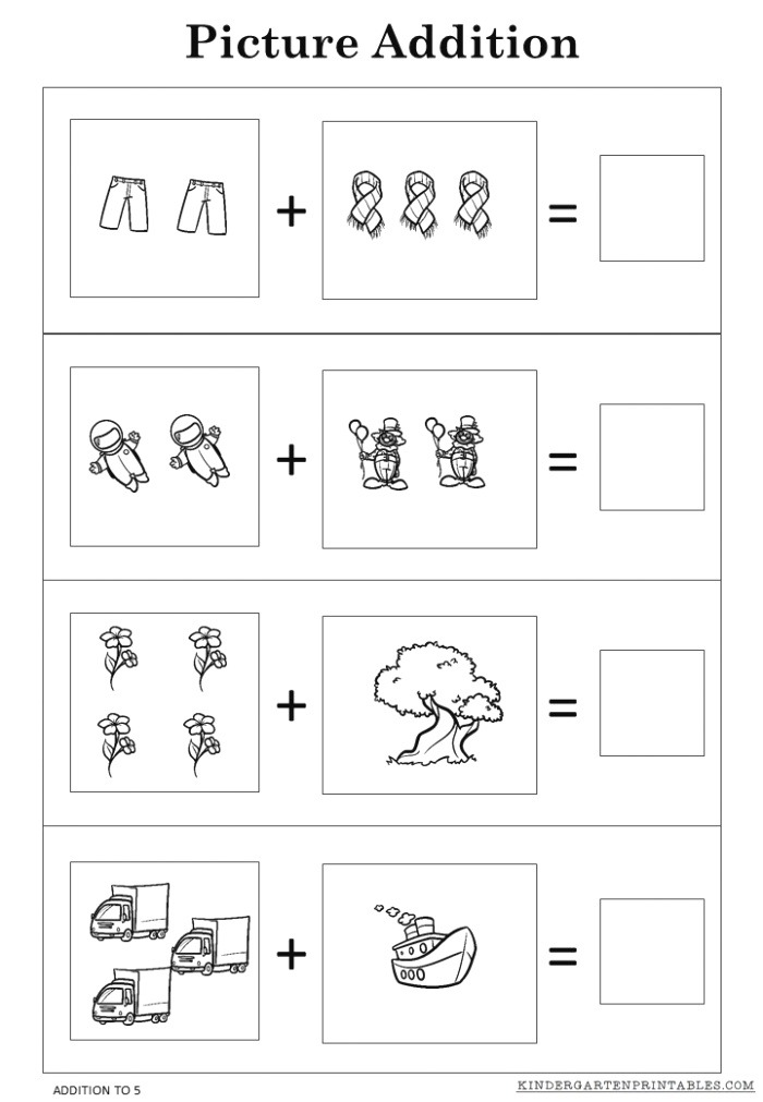 Free Picture Addition Worksheets to 5 Printables