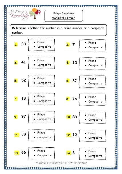 Grade 4 Maths Resources 1 11 Prime Numbers Printable