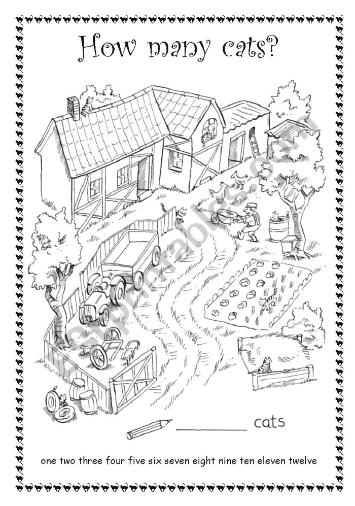 How Many Cats Pets Count He Cats Esl Worksheet by