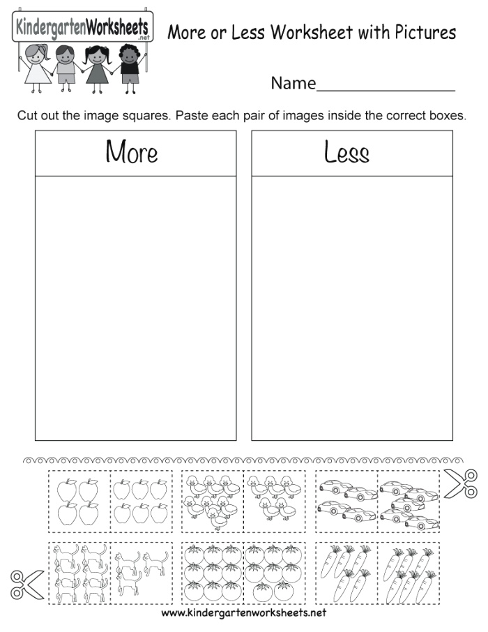 More or Less Worksheet with Free Kindergarten