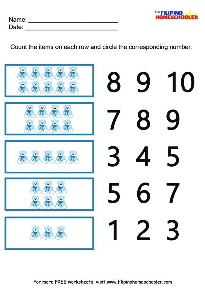 Number Recognition Worksheets 1 10 — the Filipino Homeschooler