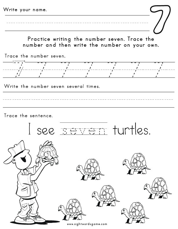Number Worksheets Sight Words Reading Writing