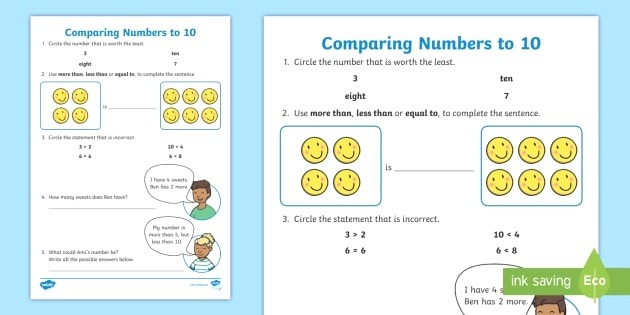 Paring Numbers to 10 Worksheet Greater Than Less