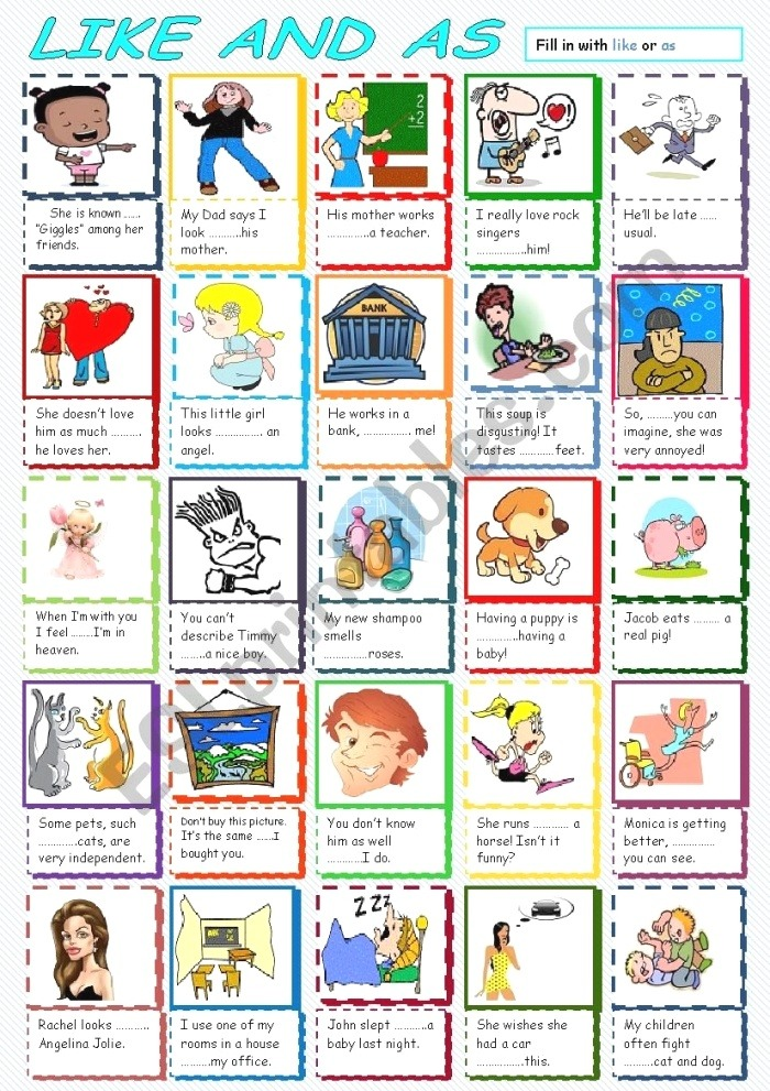 Parison with Like and as Esl Worksheet by andromaha