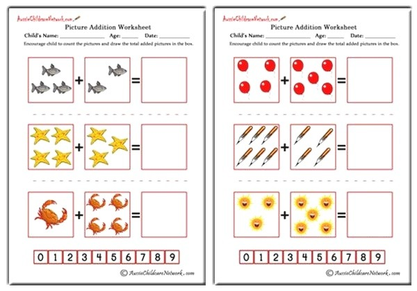Picture Addition Worksheets Aussie Childcare Network