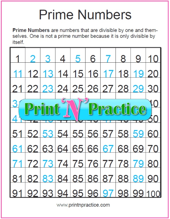 Prime Numbers Chart ⭐four Awesome Printables