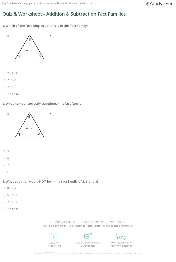 Quiz & Worksheet Addition & Subtraction Fact Families