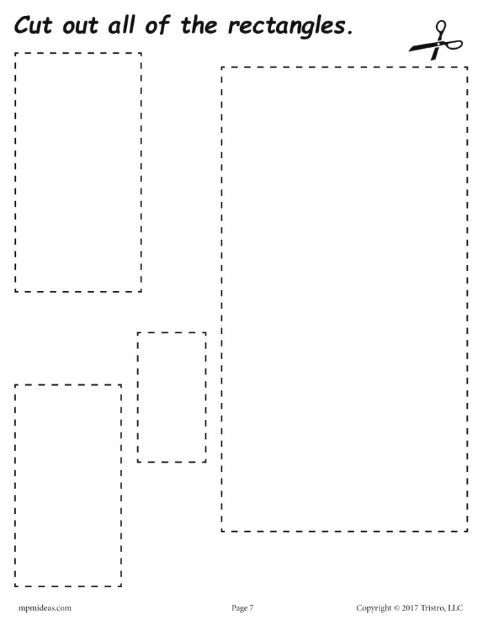 Rectangles Cutting Worksheet Rectangles Tracing