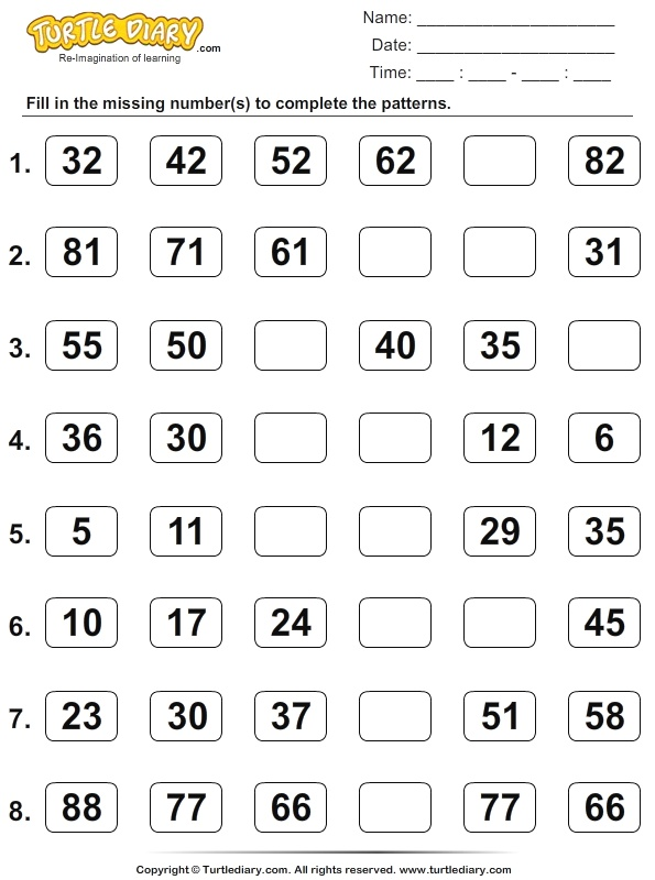 Skip Count to Find the Missing Numbers Worksheet Turtle