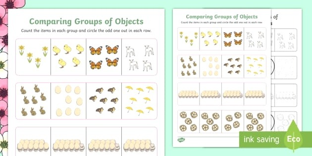 Spring themed Paring Groups Of Objects Maths Worksheet