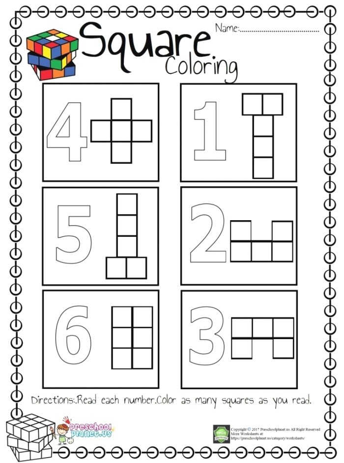 Square Count and Color Worksheet – Preschoolplanet