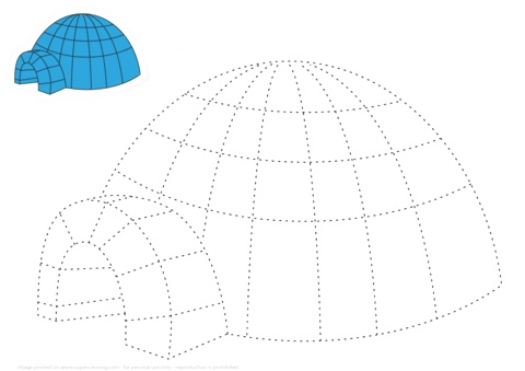 Trace and Color An Igloo