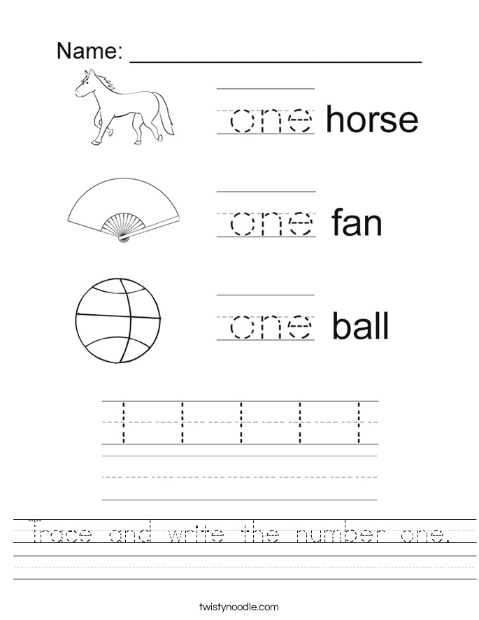 Trace and Write the Number One Worksheet Twisty Noodle