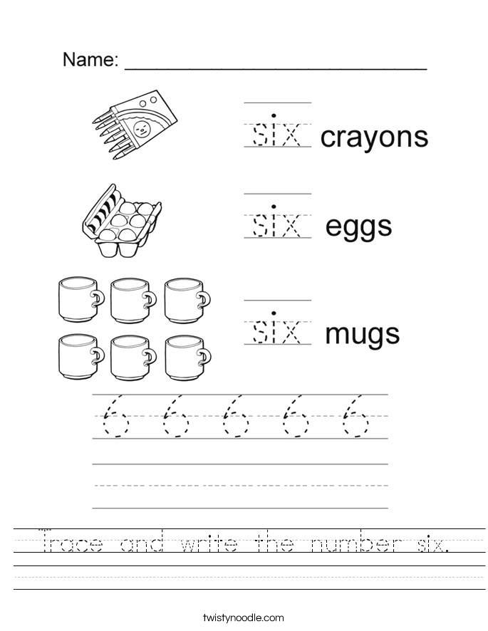 Trace and Write the Number Six Worksheet Twisty Noodle