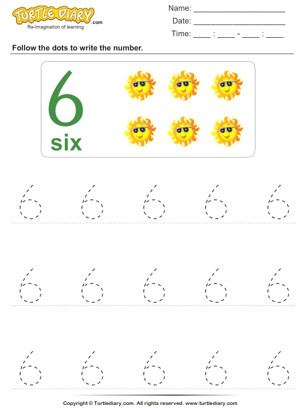 Trace the Number Six Worksheet Turtle Diary