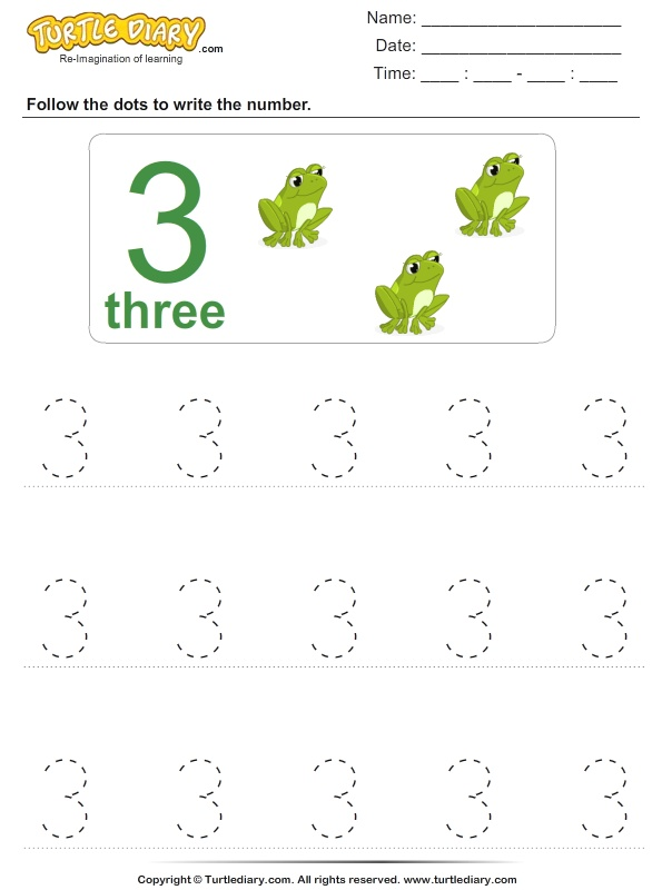 Trace the Number Three Worksheet Turtle Diary