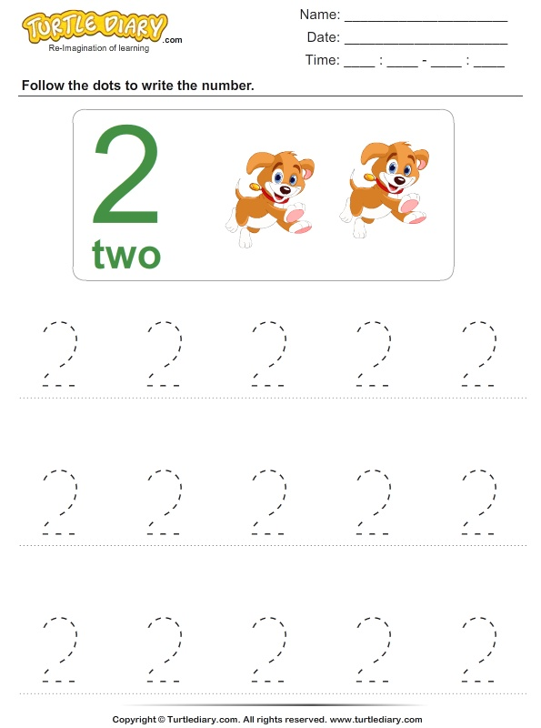 Trace the Number Two Worksheet Turtle Diary