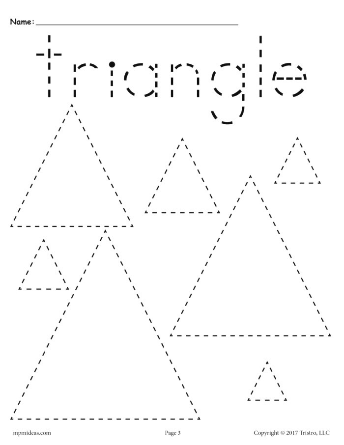 Triangles Tracing Worksheet Tracing Shapes Worksheets