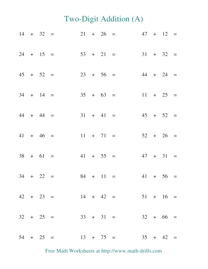 Two Digit Addition Horizontal No Regrouping A