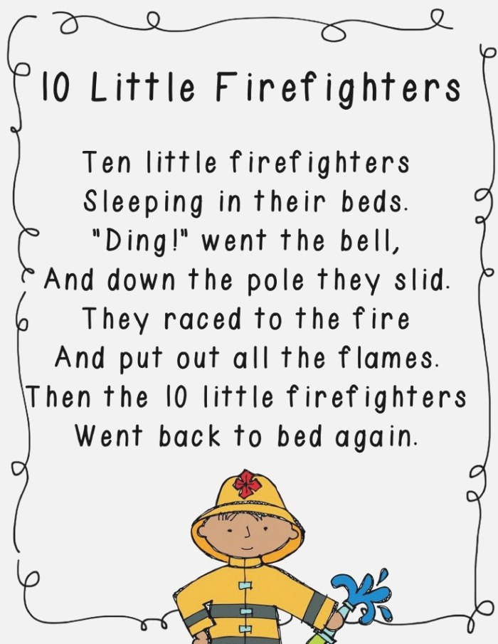 10 Little Firefighters Poem for Munity Helpers Unit