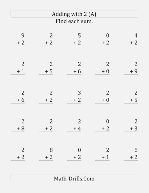 25 Adding Twos Questions A