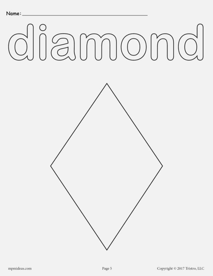 8 Diamond Worksheets Tracing Coloring Pages Cutting