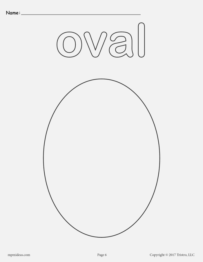 8 Oval Worksheets Tracing Coloring Pages Cutting & More