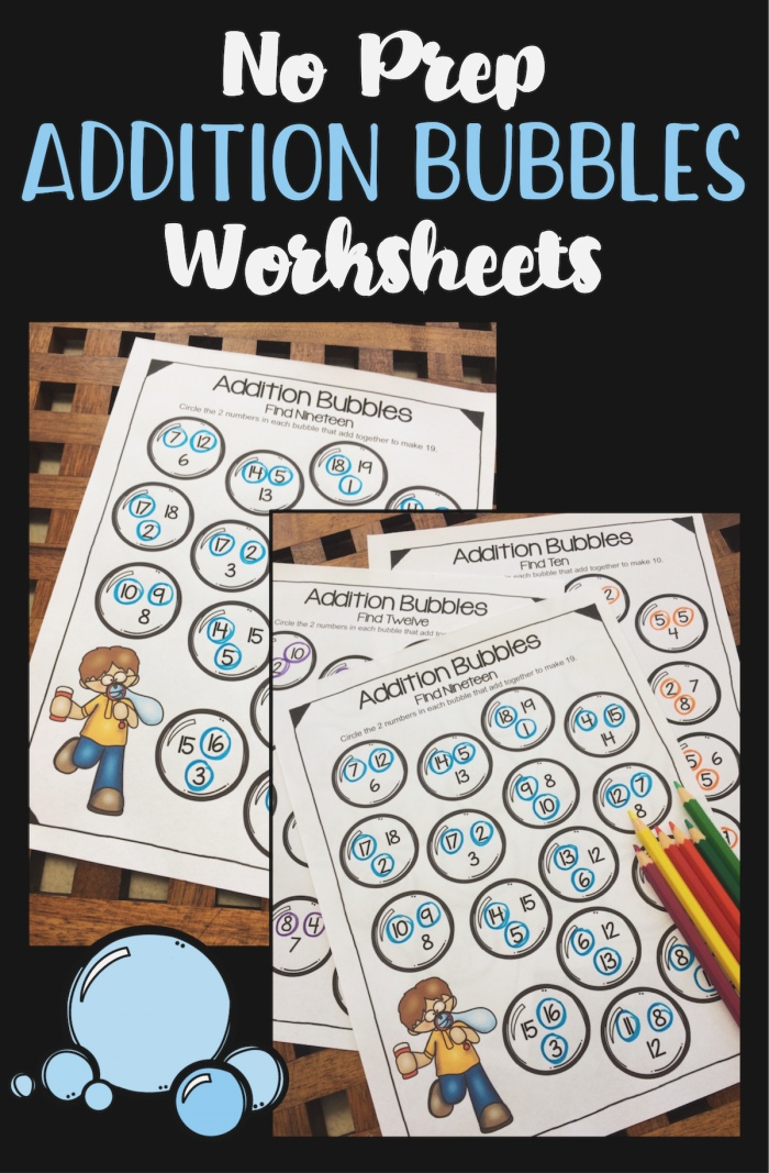 Addition Worksheets Bubbles Activity for Addition Facts