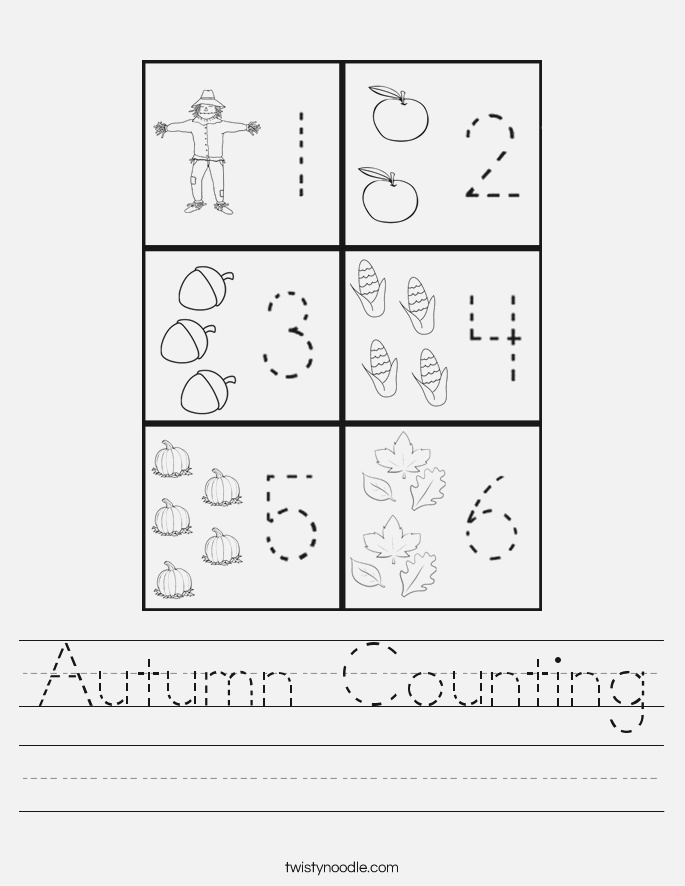 Autumn Counting Worksheet Twisty Noodle