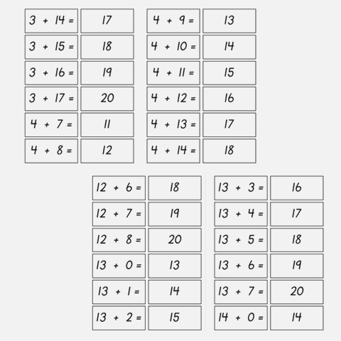 Basic Fact Flash Cards Addition with Numbers 0 20