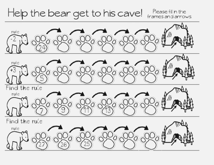 Bears Frames and Arrows Fill In the Addition Pattern