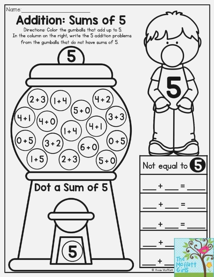 Bubble Gum Numbers Addition Sums Color the Gumballs