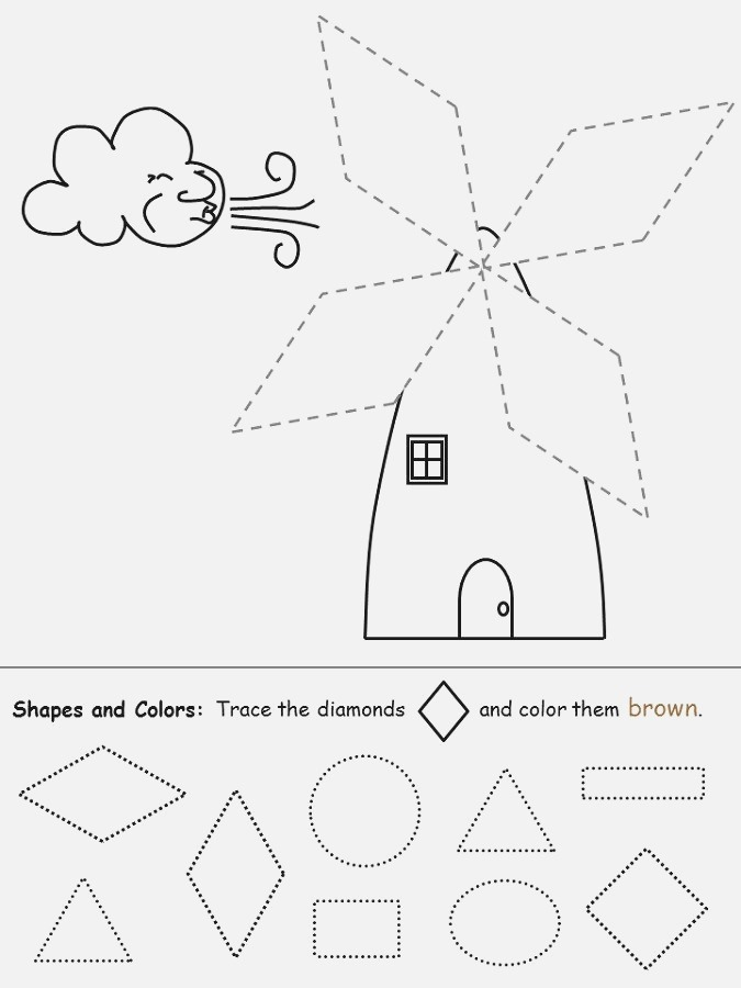 Color the Shapes Worksheet Diamonds 001 Coloring Sheets