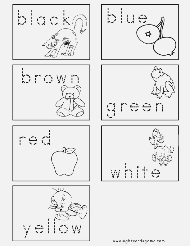Color Worksheets Sight Words Reading Writing Spelling