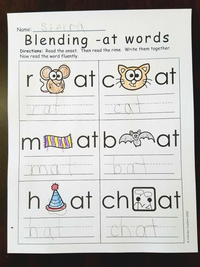 Differentiated Word Family Worksheets 4 Kinder Teachers